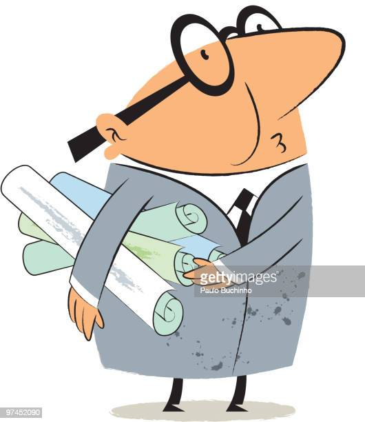ilustrações de stock, clip art, desenhos animados e ícones de a man with glasses holding plans rolled under his arm - buchinho