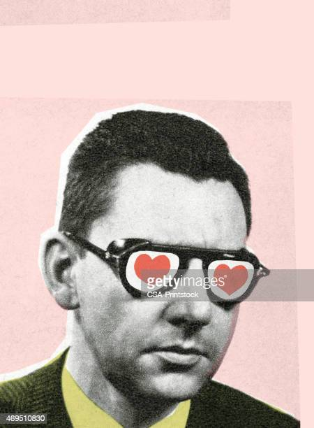 man with glasses - modern art stock illustrations