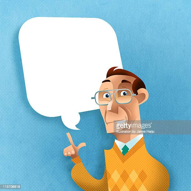 man with glasses says something - mature adult stock illustrations