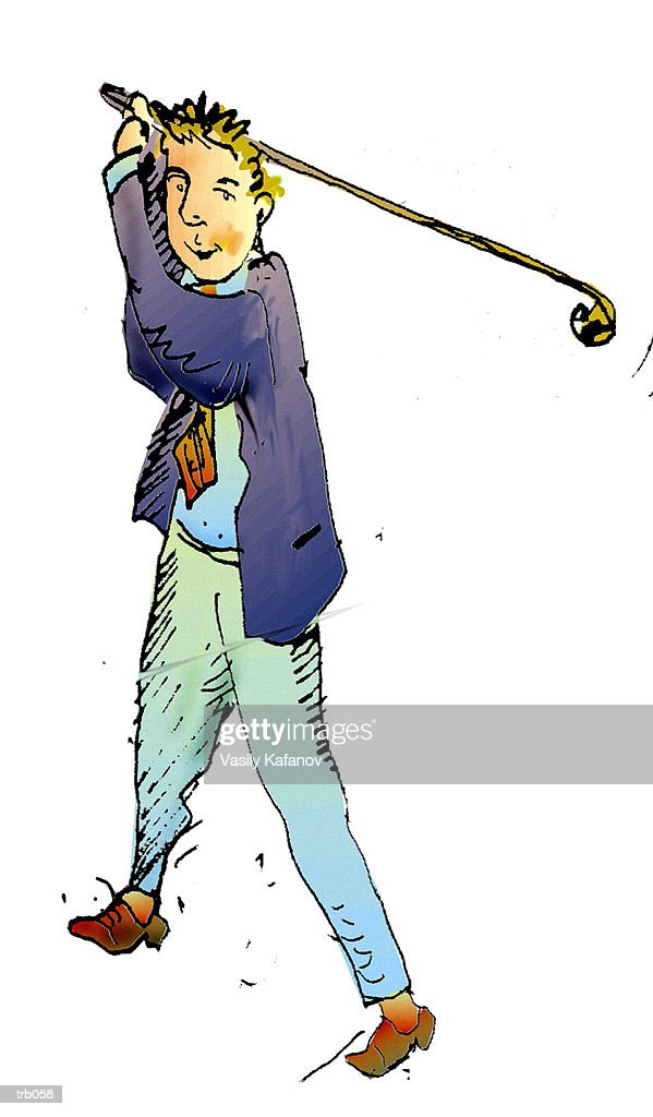 Man with Golf Club : Stock Illustration