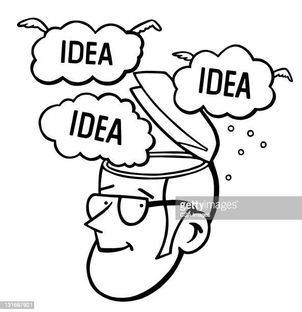 man with good ideas - thought bubble stock illustrations