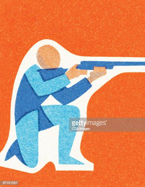 man with gun - sports target stock illustrations