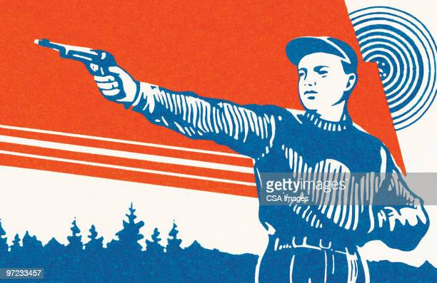 man with gun - one young man only stock illustrations