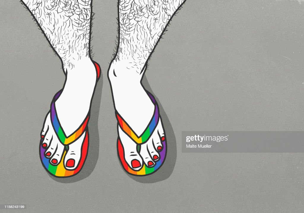 Man with hairy legs and painted toenails wearing rainbow flip-flops : ストックイラストレーション