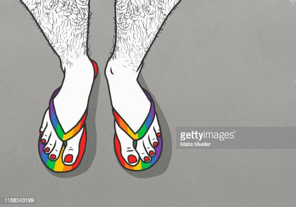 man with hairy legs and painted toenails wearing rainbow flip-flops - ゲイ点のイラスト素材/クリップアート素材/マンガ素材/アイコン素材