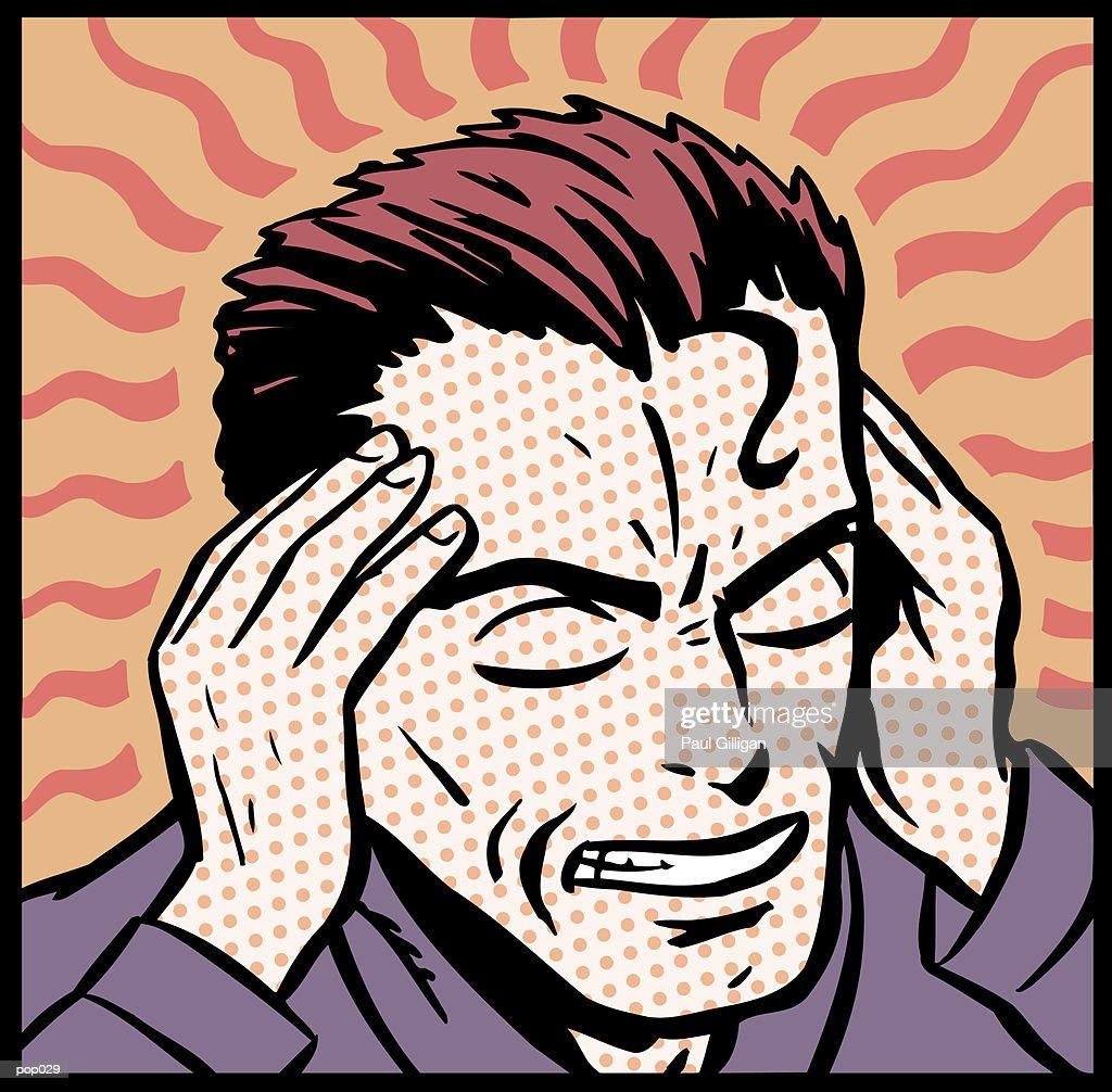 Man with Headache : Stockillustraties