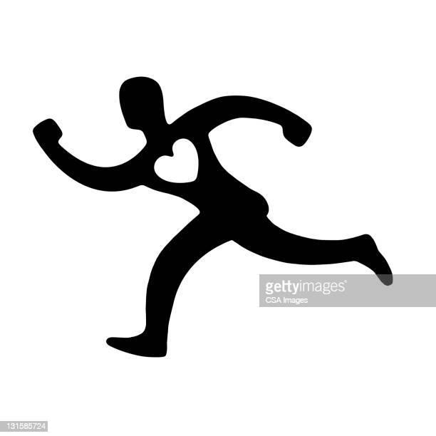 man with heart running - logo stock illustrations