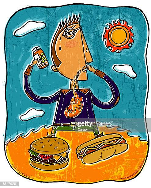a man with heartburn holding a bottle of pills,   with a burger and hot dog in front - stomach pain stock illustrations, clip art, cartoons, & icons