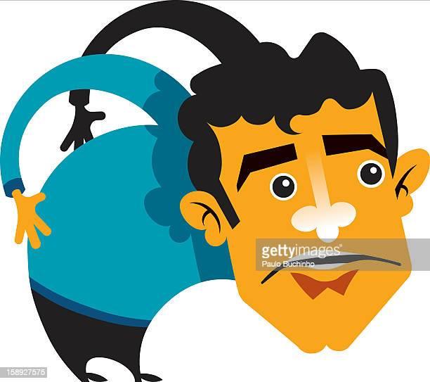 ilustrações de stock, clip art, desenhos animados e ícones de a man with his hands behind his back - buchinho