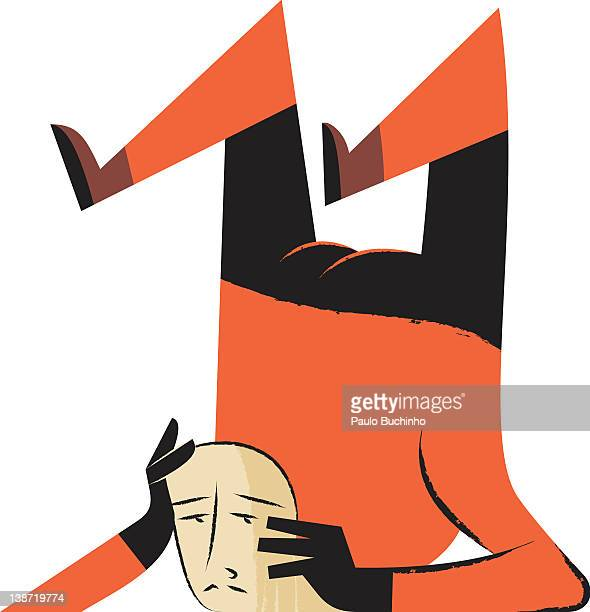 ilustrações de stock, clip art, desenhos animados e ícones de a man with his legs up in the air - buchinho