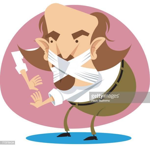 ilustrações de stock, clip art, desenhos animados e ícones de a man with his mouth taped - buchinho