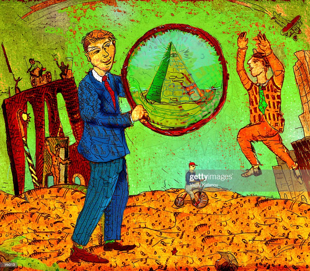 Man with Hoop & Pyramid : Stockillustraties