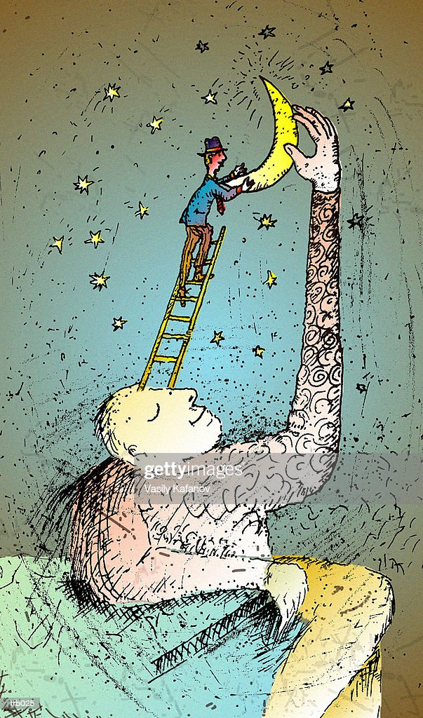 Man with Ladder to Moon : Stock Illustration