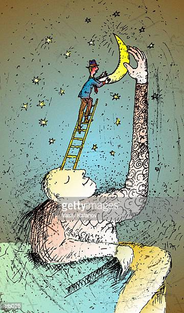 man with ladder to moon - man in the moon stock illustrations, clip art, cartoons, & icons