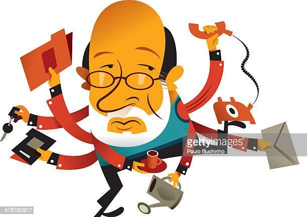 ilustrações de stock, clip art, desenhos animados e ícones de a man with many arms carrying various things - buchinho