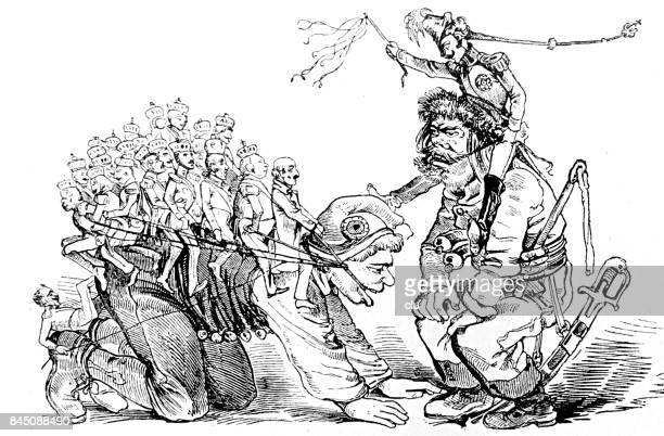 man with many people on his back as a horse getting instructions from authority - fool stock illustrations, clip art, cartoons, & icons