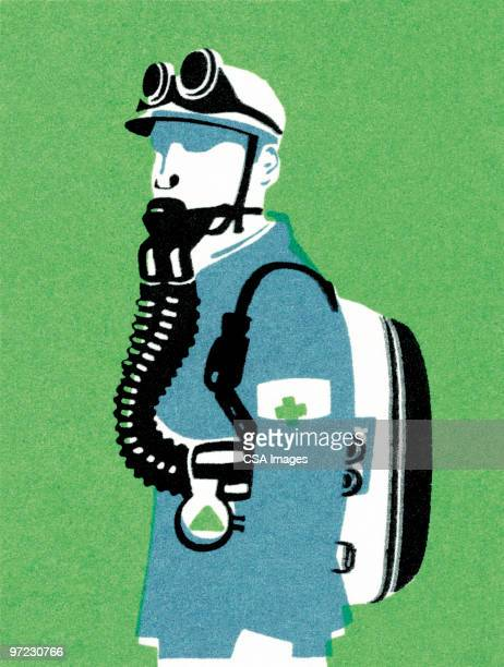 man with mask - air pollution stock illustrations