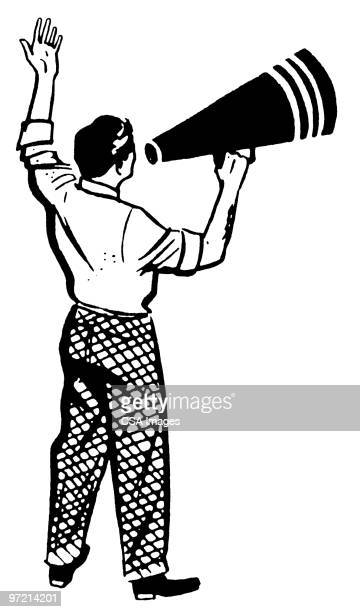 man with megaphone - barker stock illustrations, clip art, cartoons, & icons