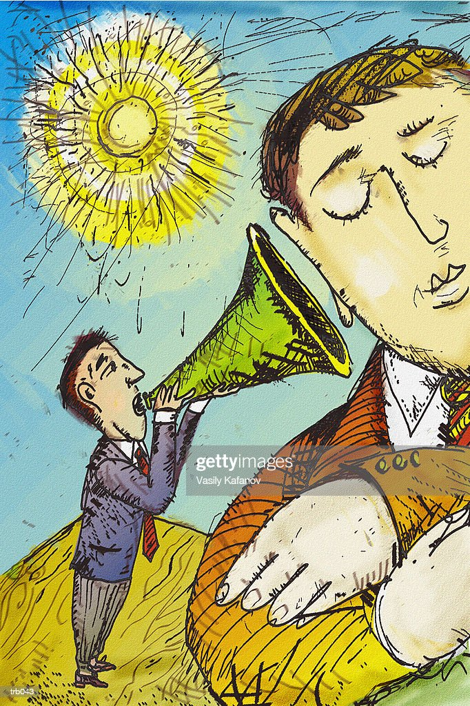 Man with Megaphone : Stock-Illustration