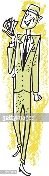 man with money - tall high stock illustrations
