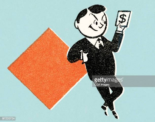 man with money - greed stock illustrations
