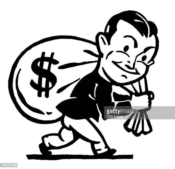 ilustraciones, imágenes clip art, dibujos animados e iconos de stock de man with money - bolsa de dinero