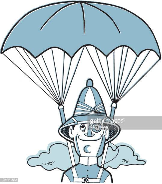 man with parachute - paratrooper stock illustrations, clip art, cartoons, & icons