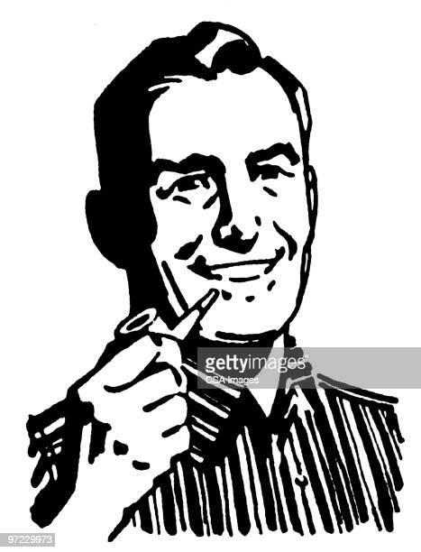 stockillustraties, clipart, cartoons en iconen met man with pipe - oudere mannen