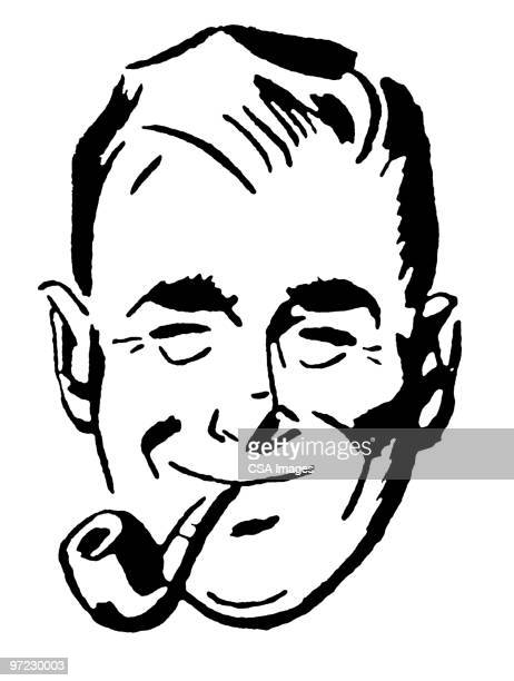 man with pipe - pipe smoking pipe stock illustrations, clip art, cartoons, & icons