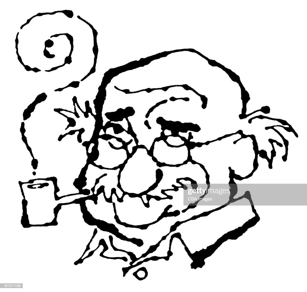 man with pipe ストックイラストレーション getty images