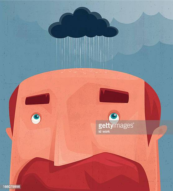 man with rain cloud - balding stock illustrations