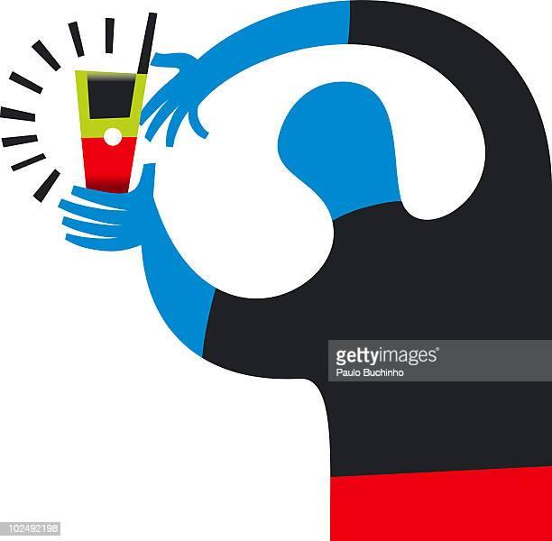 ilustrações de stock, clip art, desenhos animados e ícones de man with ringing mobile phone - buchinho