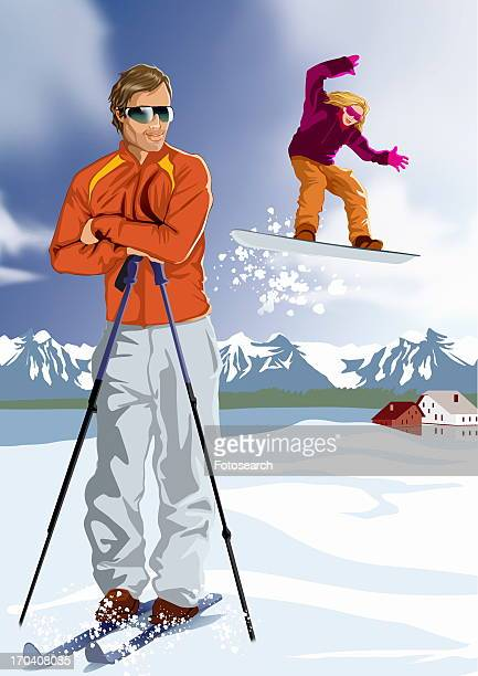 Man with skis resting with snowboarder in the background