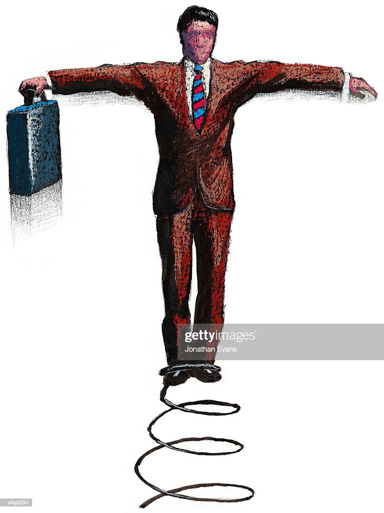 Man with Spring at Feet : Illustration