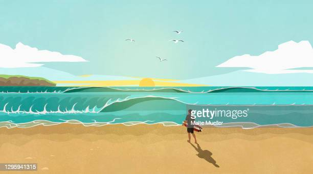 man with surfboard watching waves on sunny idyllic summer beach - day stock illustrations
