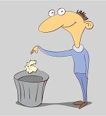 man with trash