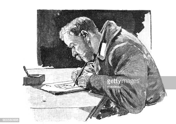 man with uniform writes a letter - 1896 - 19th century stock illustrations