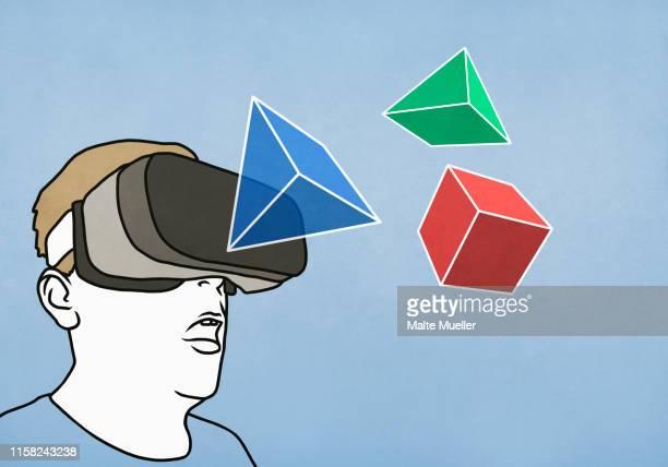 man with virtual reality simulator glasses looking at 3d geometric shapes - headshot stock illustrations