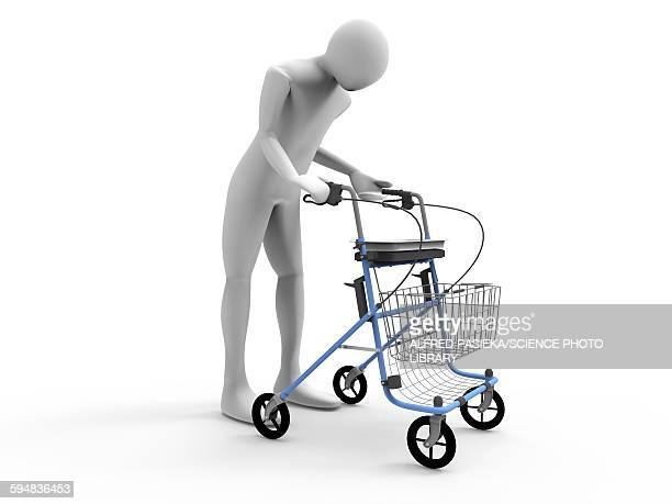 3d man with walking frame rollator - 歩行器点のイラスト素材/クリップアート素材/マンガ素材/アイコン素材