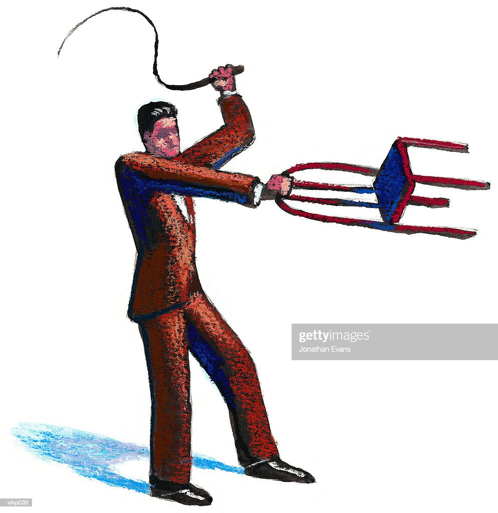 Man with Whip & Chair : Stock Illustration