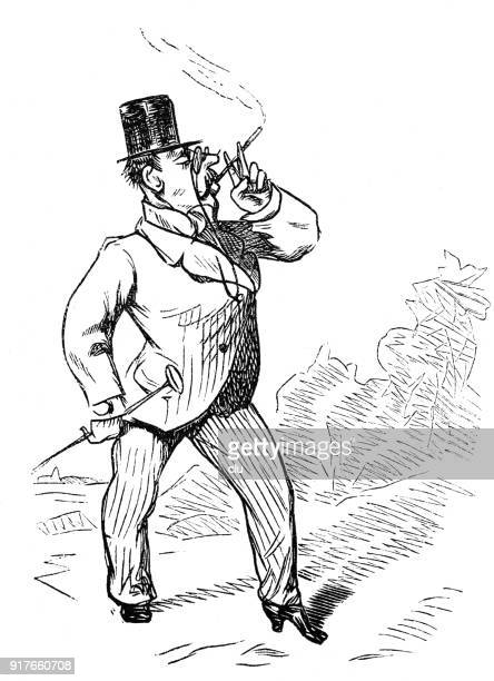 man with women's shoes strides through the world smoking proudly - 1877 stock illustrations, clip art, cartoons, & icons