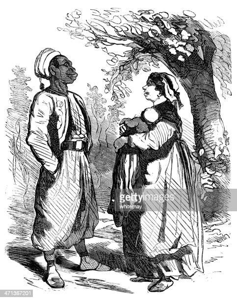 man, woman and baby in traditional ethnic clothing - north african ethnicity stock illustrations, clip art, cartoons, & icons