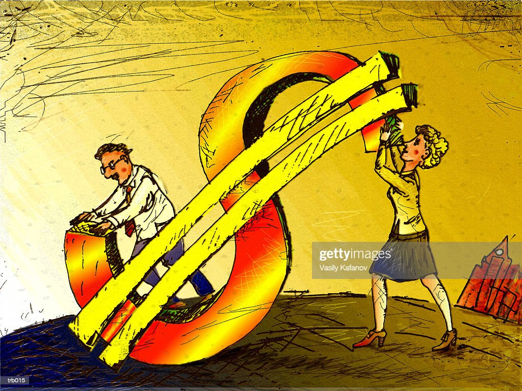 Man & Woman Holding Dollar Sign : Stockillustraties