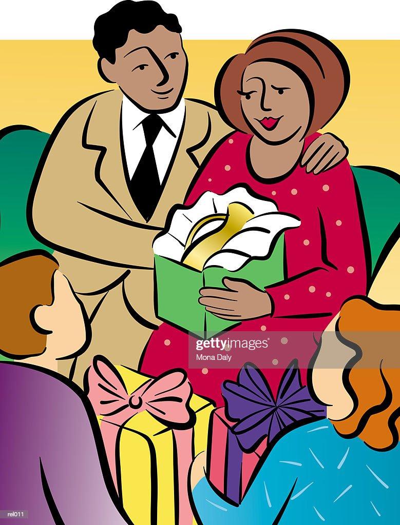Man & Woman Open Presents : Stockillustraties