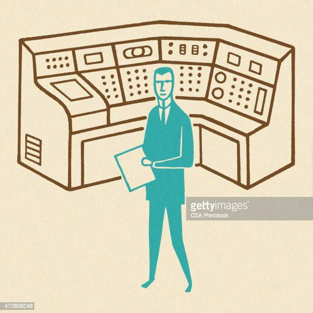Man Working at a Control Center