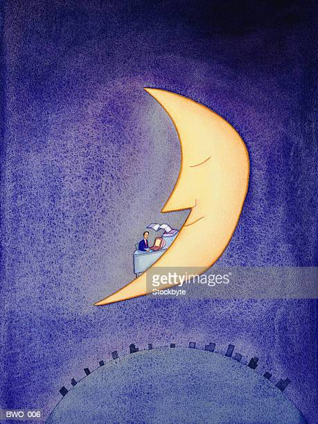 man working at desk, on crescent moon - man in the moon stock illustrations, clip art, cartoons, & icons