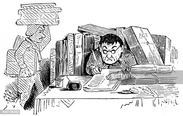 illustrations, cliparts, dessins animés et icônes de homme travaillant au comptoir entouré par trop de documents - crouler sous le travail