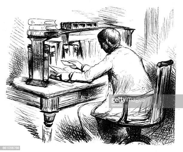 ilustraciones, imágenes clip art, dibujos animados e iconos de stock de man working at his desk - un solo hombre