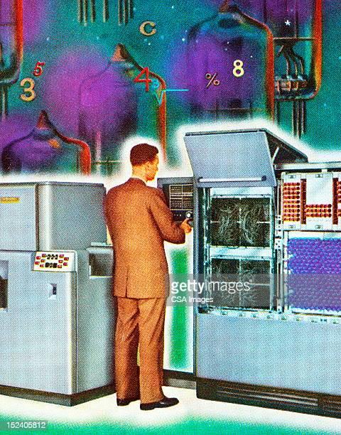 Man Working at Vintage Computer