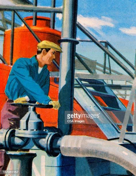 Man Working in Oil Field